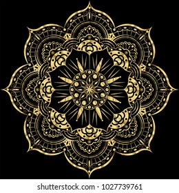 Golden Flower Mandala. Vintage decorative elements. Oriental pattern, vector illustration. Islam, Arabic, Indian, moroccan, spain, turkish, pakistan, chinese, mystic, ottoman motifs. gold luxury decor