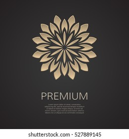 Golden flower shape. Gradient premium logotype. Isolated floral logo. Business identity concept for bio, eco company, yoga or spa salon.