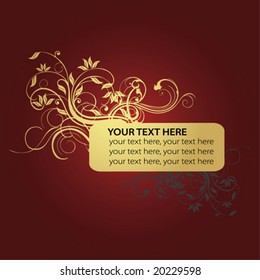 golden flower and text frame in red background