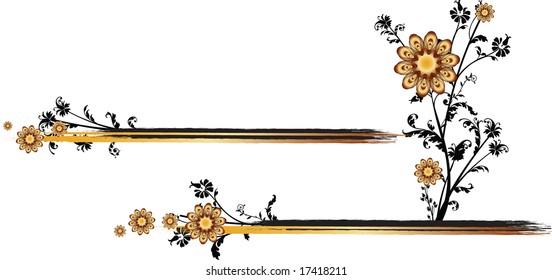 Golden flowers vector illustration