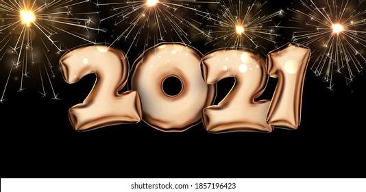 Golden foil balloon 2021 sign on black background with golden sparkling fireworks. Vector holiday illustration.