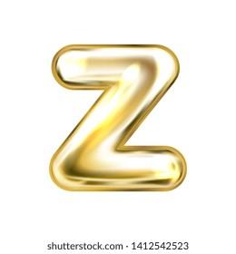 Golden foil inflated alphabet symbol, isolated letter Z