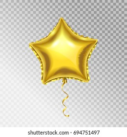 Golden Foil Star shape vector Balloon. Mylar 3d object isolated on transparent background.
