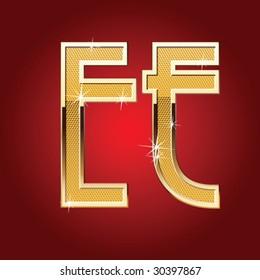 Golden font Letter E