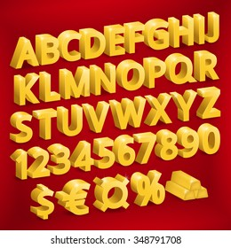 Golden font (letters, numbers, symbols: currency, dollar, euro)