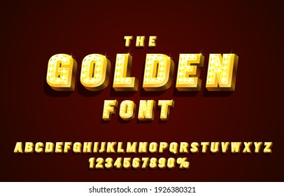 Golden font set collection, letters and numbers symbol. Vector illustration
