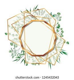 golden frame decagon with foliage isolated icon