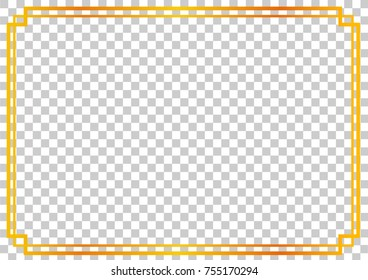 Golden Frame, Double outline, for Certificate, Placard and other, at Transparent Effect Background