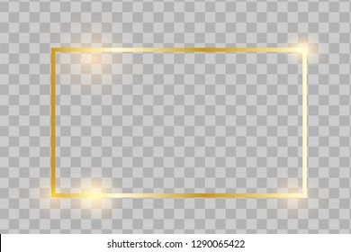 Golden frame with lights effects,Shining luxury banner vector illustration. Glow line golden frame with sparks and spotlight light effects. Shining rectangle banner isolated on transparent