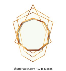 golden frame nonagon isolated icon
