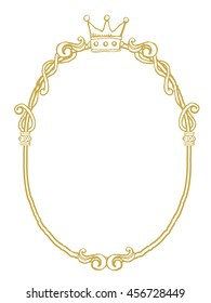 golden frame with ornaments in gold for pictures or mirror