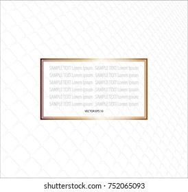 Golden frame for sample text on gray line abstract pattern background, EPS10