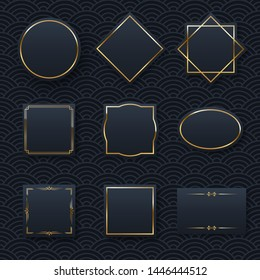 Golden frame set minimalistic templates with text space. Elegant round border with shiny gradient effect. Chinese oriental waves pattern web banner background. Abstract black invitation vector layout