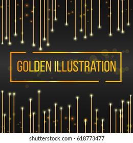 Golden frame Shining rectangular banner. Vector design element.