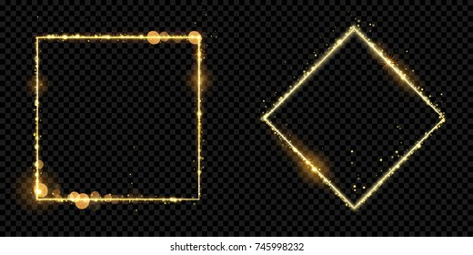 Golden frame squares of gold glitter light particles. Vector shiny sparkling round line square with glowing magic neon light effect on black banner background. Glow border frame design