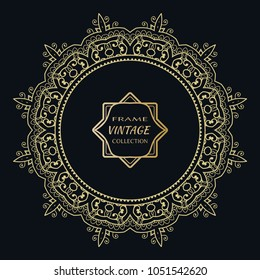 Golden frame template with label and Vintage sign. Decorative line art border, geometric round ornament, linear circular motif. Isolated design element, gold on black background. Elegant fashion lace