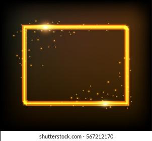 Golden frame.Shining square banner.Vector design element.