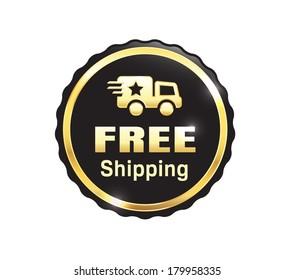 Golden Free Shipping Badge