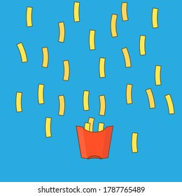 Golden french fries falling down in a red box on blue background. Fast food illustration. Funny and tasty frites.