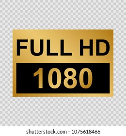 Golden Full HD label. Modern technology signs