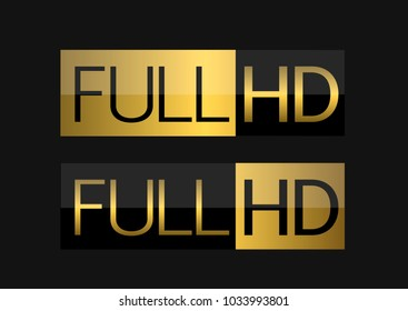 Golden Full HD labels. Modern technology signs, Vector illustration