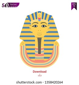 Golden funerary mask, bust of the pharaoh of ancient Egypt, Tutankhamen. International historical landmark, an ancient Egyptian artifact. Vector illustration on white background