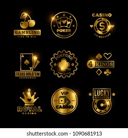 Golden gambling, casino, poker royal tournament, roulette vector labels, emblems, logos and badges. Win game poker card, emblem lucky gambling illustration