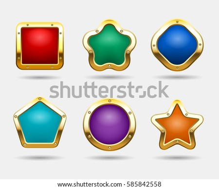 e4bb201af85 Golden game buttons isolated on white background. Vector candy button frames  in shapes of square
