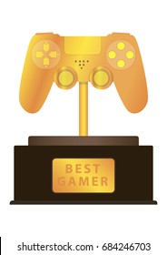Golden gamepad, award to the best gamer, vector image