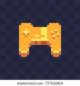 Golden gamepad. Pixel art style. Game tournament achievement. 8-bit sprite. Isolated vector illustration.