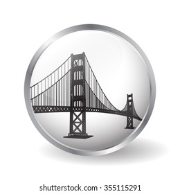 Golden Gate bridge button vector