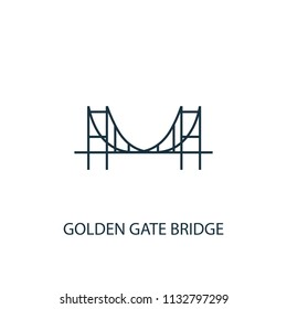 Golden Gate Bridge concept line icon. Simple element illustration. Golden Gate Bridge concept outline symbol design from USA set. Can be used for web and mobile UI/UX