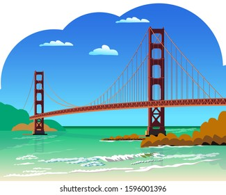 Golden Gate Bridge isolated vector illustration San Francisco California United States of America. For design cards