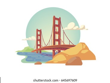 Golden Gate Bridge isolated vector illustration San Francisco California United States of America
