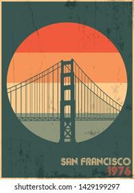 Golden Gate Bridge San Francisco 1976, Vintage Style Poster, Retro Colors, Grunge Texture Background