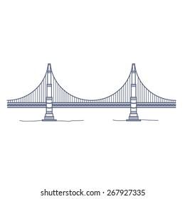 Golden Gate Bridge - San Francisco - Side View Illustration