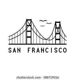Golden Gate bridge of San Francisco vector illustration
