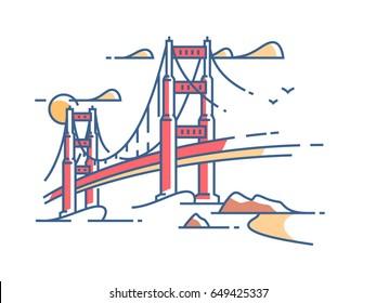 Golden Gate Bridge to San Francisco for crossing bay. Vector illustration