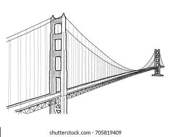 Golden Gate Bridge, San Francisco, California and Marin County, California: Vector Illustration Hand Drawn Landmark Cartoon Art