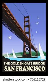 The golden gate bridge, San Francisco - vector illustration