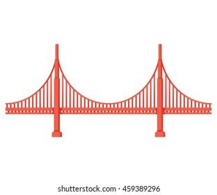 Golden Gate Bridge side view. San Francisco symbol isolated vector illustration.