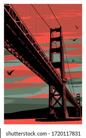 Golden Gate Bridge at sunset, San Francisco, USA - vector illustration (Ideal for printing on fabric or paper, poster or wallpaper, house decoration)