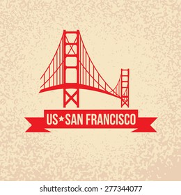 Golden Gate bridge - The symbol of US, San Francisco.. Vintage stamp with red ribbon