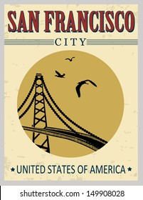 Golden gate bridge from United States of America in vitage style poster, vector illustration