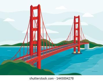 Golden Gate Bridge vector illustration San Francisco California United States of America