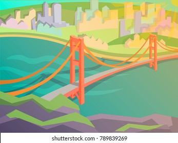 Golden gate bridge vector illustration. San Francisco symbol