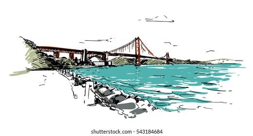 Golden Gate Brige San Francisco. Hand drawn sketch