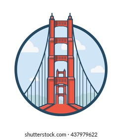 Golden Gate San Francisco Vector Illustration