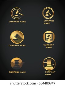Golden gavel round icon for law firm or company, lawyer office, legal and justice concept logo design auction hammer.