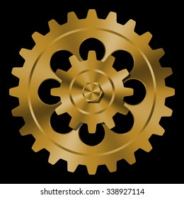 Golden gears on black background.